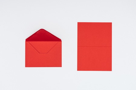close-up view of red envelope and card isolated on white Stock fotó