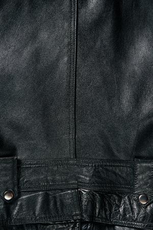 full frame of black leather jacket as background Stock Photo