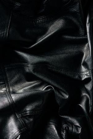 Full frame of black leather jacket as background