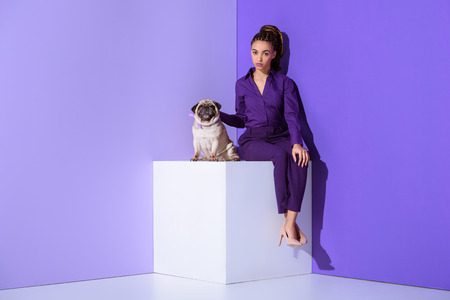 elegant mulatto girl in purple suit sitting on cube with pug, ultra violet trend