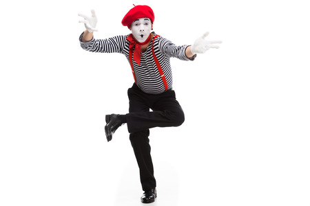 funny mime performing and gesturing isolated on white Stock Photo - 111216493