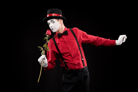 mime sniffing red rose isolated on black