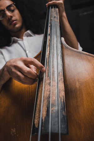 bottom view of handsome young musician playing standup bass 写真素材