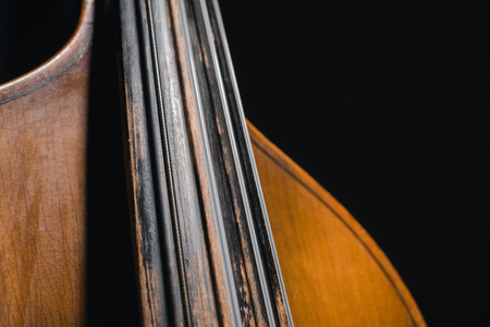 close-up shot of double bass isolated on black 写真素材