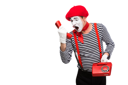 mime shouting in stationary telephone isolated on white
