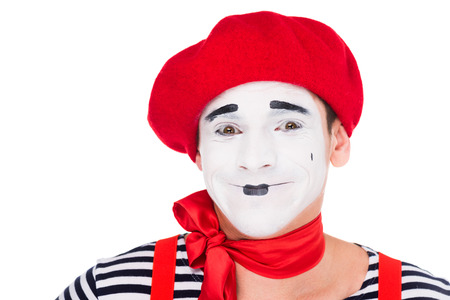 portrait of smiling mime looking at camera isolated on white Zdjęcie Seryjne