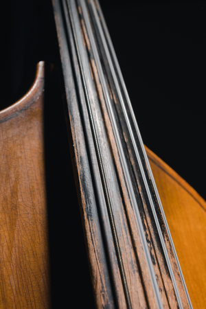 close-up shot of contrabass viol isolated on black 写真素材 - 111233633