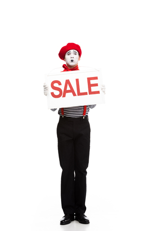 confused mime holding sale signboard isolated on white