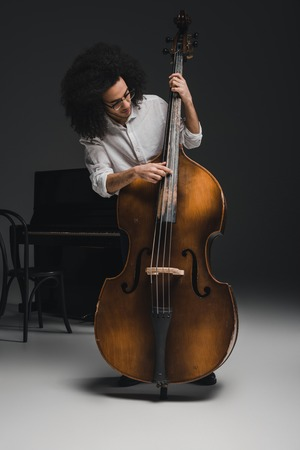 handsome young musician playing standup bass 写真素材