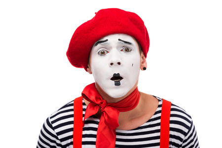 shocked mime with red bow isolated on white
