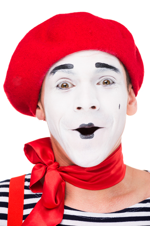 portrait of surprised mime isolated on white
