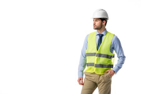 Confident architect in reflective vest isolated on white 版權商用圖片 - 111368354