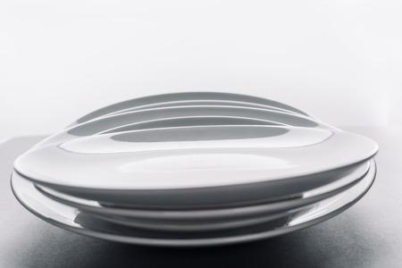 Shiny white kitchen ceramic plates