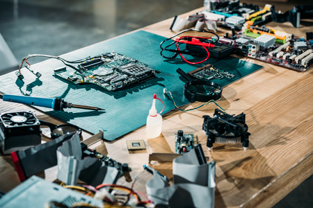 Repair table with circuit board and engineering equipment