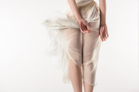 back view of girl in waving chiffon dress, isolated on white Reklamní fotografie