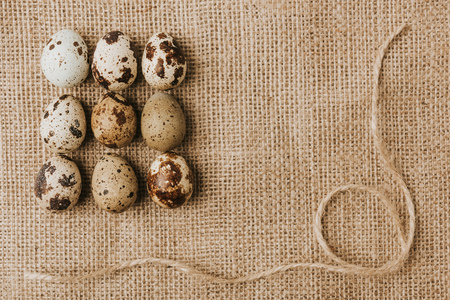 quail eggs laying in a rows on sackcloth with rope Reklamní fotografie