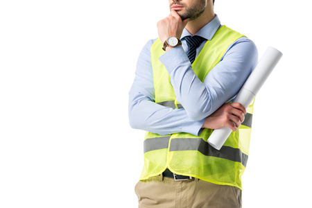 Thoughtful builder in reflective vest holding blueprint isolated on white Stok Fotoğraf - 111570621