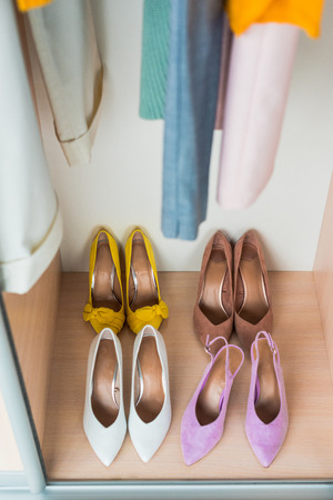 high angle view of colorful high heels in cabinet Stok Fotoğraf