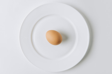 brown egg laying on white plate on white background