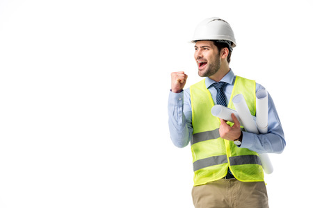 Successful builder in reflective vest and hard hat holding blueprints isolated on white Stockfoto