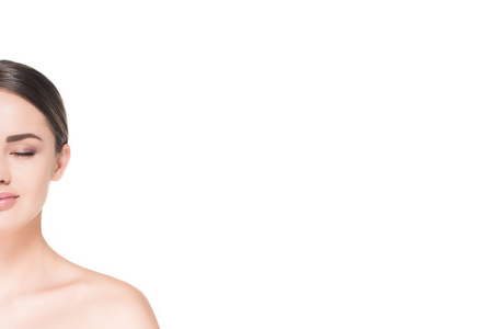 cropped shot of half of face of attractive woman isolated on white