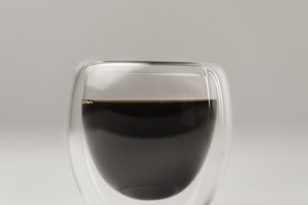Double Walled Glass cup with espresso coffee on white background Stok Fotoğraf