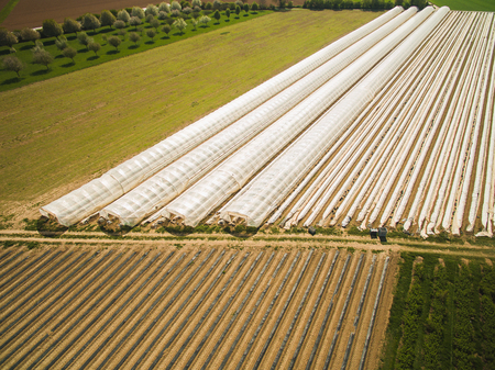 Aerial view of landscape with greenhouses on field, Germany