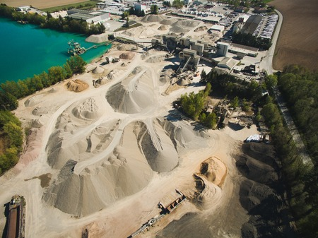 Aerial view of sand quarry or construction, Germany