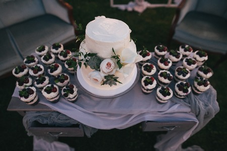 high angle view of beautiful wedding cake and delicious fruity desserts in glasses