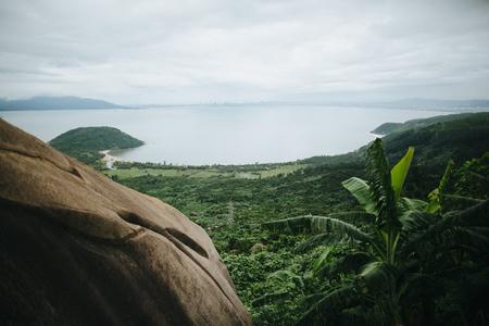 beautiful scenic landscape with green hills in Hai Van Pass, Vietnam