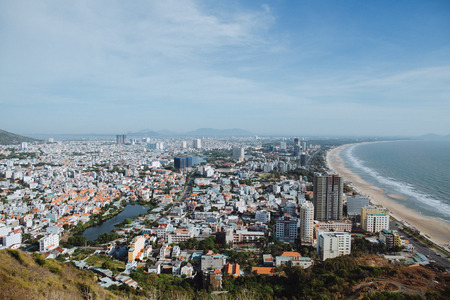 aerial view of Vung Tau cityscape near sea, Vietnam Stock Photo