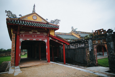 beautiful traditional oriental architecture and ruins of ancient wall in Hue, Vietnam