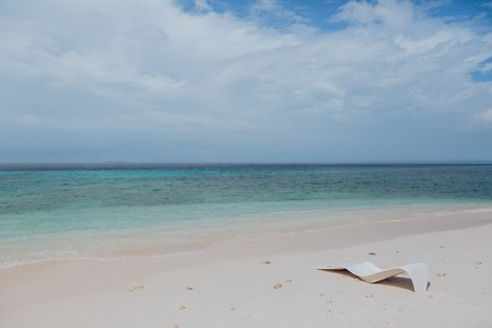 beautiful empty sandy beach and seascape at Thoddoo island, Maldives Banco de Imagens
