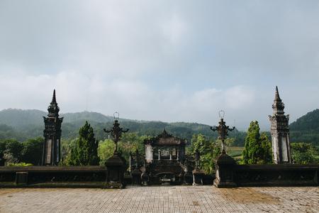 traditional ancient oriental architecture in green park, Hue, Vietnam Banco de Imagens