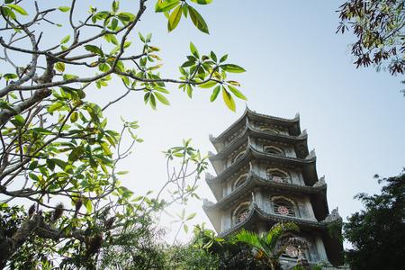 low angle view of beautiful oriental tower in Da Nang, Vietnam