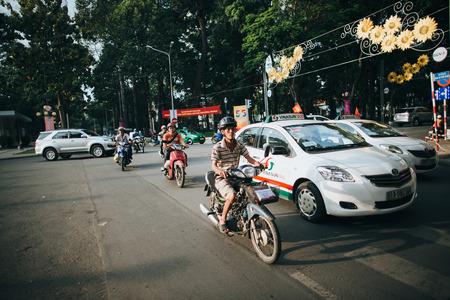 HO CHI MINH, VIETNAM - 03 JANUARY, 2018: traffic on busy street in Ho Chi Minh, Vietnam Stock Photo - 111377262