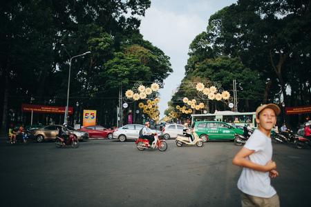 HO CHI MINH, VIETNAM - 03 JANUARY, 2018: traffic on busy street in Ho Chi Minh, Vietnam