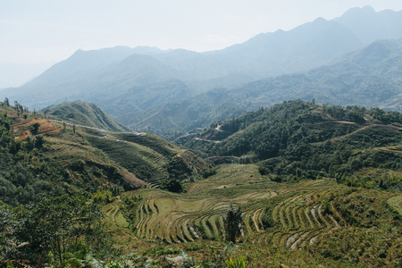 scenic landscape with beautiful mountains and green vegetation in Sa Pa, Vietnam