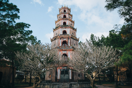 ancient traditional oriental temple in Hue, Vietnam