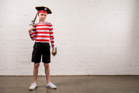 adorable little boy in pirate costume