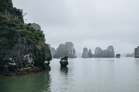 beautiful cliffs and scenic seascape in Ha Long, Vietnam