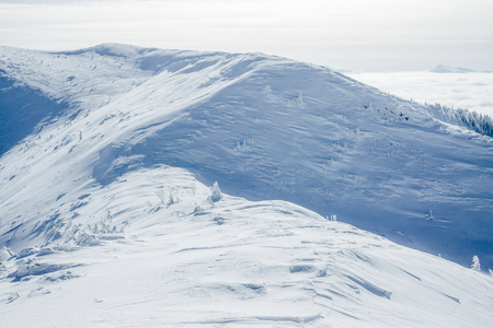 Hills of Gorgany mountains covered with snow