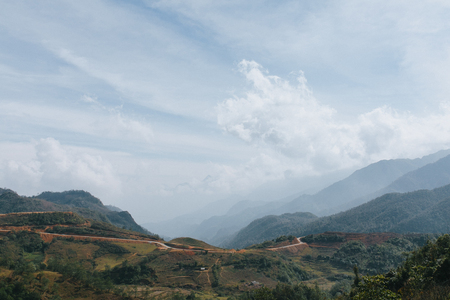 beautiful landscape with scenic mountains in Sa Pa, Vietnam Stockfoto