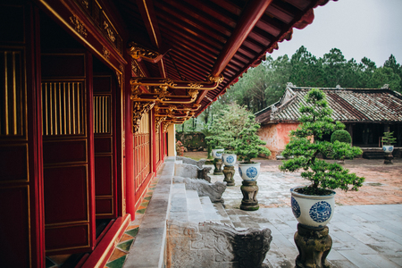 traditional oriental architecture and decorative bonsai trees in pots, Hue, Vietnam
