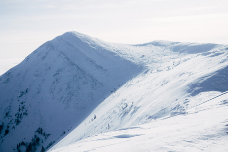 Hills covered with snow in Gorgany mountains