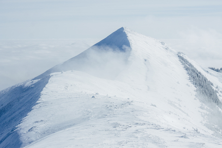 Peak covered with snow in Gorgany mountains