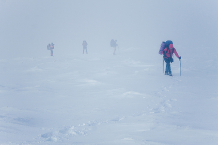 Barely visible climbers during blizzard in Gorgany mountains Stock fotó