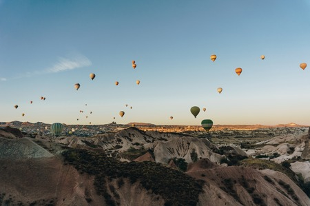 Mountain landscape with Hot air balloons, Cappadocia, Turkey Reklamní fotografie