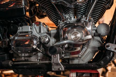 close-up shot of vintage motorcycle engine