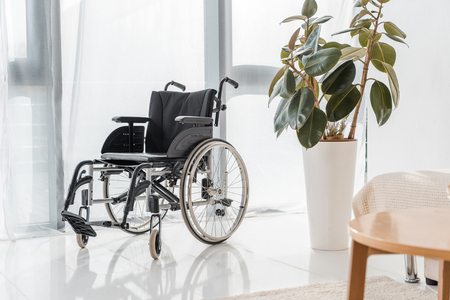 empty wheelchair in nursing home